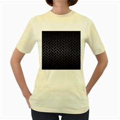Brick2 Black Marble & Gray Metal 1 Women s Yellow T Shirt
