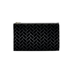 Brick2 Black Marble & Gray Metal 1 Cosmetic Bag (small)