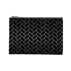 Brick2 Black Marble & Gray Metal 1 Cosmetic Bag (large)