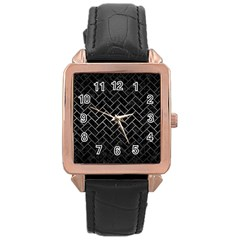 Brick2 Black Marble & Gray Metal 1 Rose Gold Leather Watch