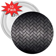 Brick2 Black Marble & Gray Metal 1 (r) 3  Buttons (10 Pack)