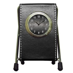 Brick2 Black Marble & Gray Metal 1 (r) Pen Holder Desk Clocks