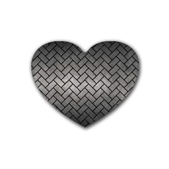 Brick2 Black Marble & Gray Metal 1 (r) Heart Coaster (4 Pack)