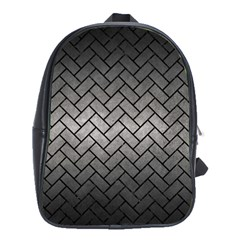 Brick2 Black Marble & Gray Metal 1 (r) School Bag (large)