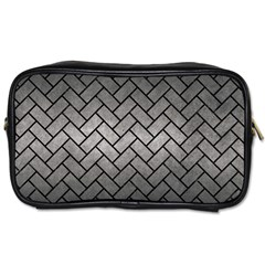 Brick2 Black Marble & Gray Metal 1 (r) Toiletries Bags 2 Side