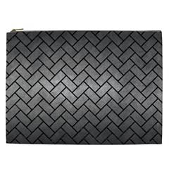 Brick2 Black Marble & Gray Metal 1 (r) Cosmetic Bag (xxl)