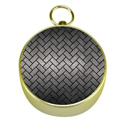 Brick2 Black Marble & Gray Metal 1 (r) Gold Compasses