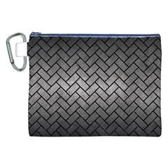 Brick2 Black Marble & Gray Metal 1 (r) Canvas Cosmetic Bag (xxl)