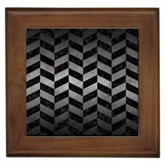 Chevron1 Black Marble & Gray Metal 1 Framed Tiles