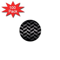 Chevron1 Black Marble & Gray Metal 1 1  Mini Buttons (100 Pack)