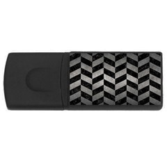 Chevron1 Black Marble & Gray Metal 1 Rectangular Usb Flash Drive