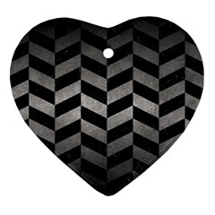 Chevron1 Black Marble & Gray Metal 1 Heart Ornament (two Sides)