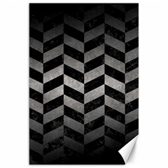 Chevron1 Black Marble & Gray Metal 1 Canvas 20  X 30