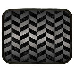 Chevron1 Black Marble & Gray Metal 1 Netbook Case (xxl)
