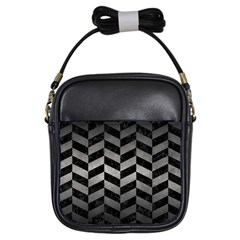 Chevron1 Black Marble & Gray Metal 1 Girls Sling Bags