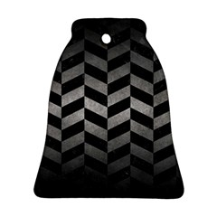 Chevron1 Black Marble & Gray Metal 1 Bell Ornament (two Sides)