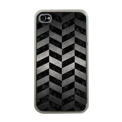 Chevron1 Black Marble & Gray Metal 1 Apple Iphone 4 Case (clear)