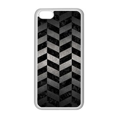 Chevron1 Black Marble & Gray Metal 1 Apple Iphone 5c Seamless Case (white)