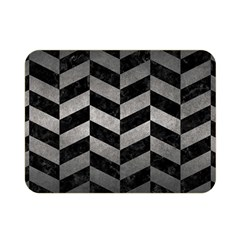 Chevron1 Black Marble & Gray Metal 1 Double Sided Flano Blanket (mini)