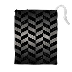 Chevron1 Black Marble & Gray Metal 1 Drawstring Pouches (extra Large)