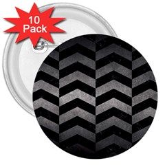 Chevron2 Black Marble & Gray Metal 1 3  Buttons (10 Pack)