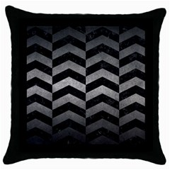 Chevron2 Black Marble & Gray Metal 1 Throw Pillow Case (black)