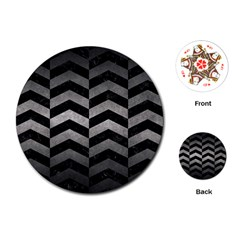 Chevron2 Black Marble & Gray Metal 1 Playing Cards (round)
