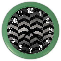 Chevron2 Black Marble & Gray Metal 1 Color Wall Clocks