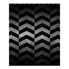 Chevron2 Black Marble & Gray Metal 1 Shower Curtain 60  X 72  (medium)