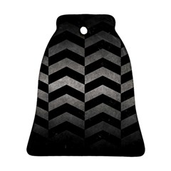 Chevron2 Black Marble & Gray Metal 1 Bell Ornament (two Sides)