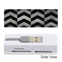 Chevron2 Black Marble & Gray Metal 1 Memory Card Reader (stick)