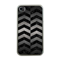 Chevron2 Black Marble & Gray Metal 1 Apple Iphone 4 Case (clear)