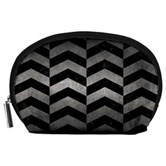 Chevron2 Black Marble & Gray Metal 1 Accessory Pouches (large)