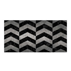 Chevron2 Black Marble & Gray Metal 1 Satin Wrap