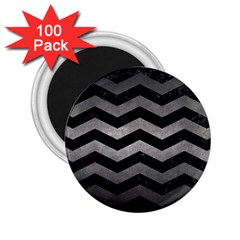 Chevron3 Black Marble & Gray Metal 1 2 25  Magnets (100 Pack)