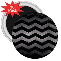 Chevron3 Black Marble & Gray Metal 1 3  Magnets (10 Pack)