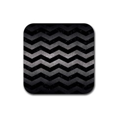 Chevron3 Black Marble & Gray Metal 1 Rubber Square Coaster (4 Pack)