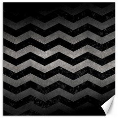 Chevron3 Black Marble & Gray Metal 1 Canvas 20  X 20