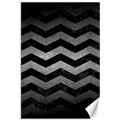 Chevron3 Black Marble & Gray Metal 1 Canvas 20  X 30