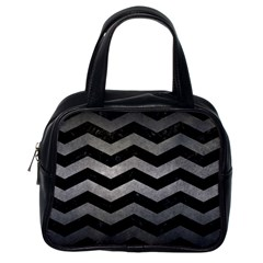 Chevron3 Black Marble & Gray Metal 1 Classic Handbags (one Side)