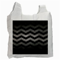 Chevron3 Black Marble & Gray Metal 1 Recycle Bag (two Side)