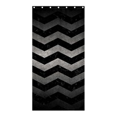 Chevron3 Black Marble & Gray Metal 1 Shower Curtain 36  X 72  (stall)