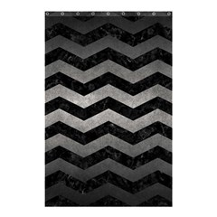 Chevron3 Black Marble & Gray Metal 1 Shower Curtain 48  X 72  (small)