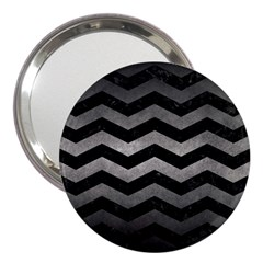 Chevron3 Black Marble & Gray Metal 1 3  Handbag Mirrors