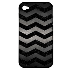 Chevron3 Black Marble & Gray Metal 1 Apple Iphone 4/4s Hardshell Case (pc+silicone)
