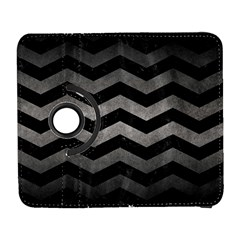 Chevron3 Black Marble & Gray Metal 1 Galaxy S3 (flip/folio)