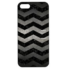 Chevron3 Black Marble & Gray Metal 1 Apple Iphone 5 Hardshell Case With Stand