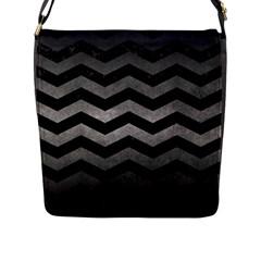 Chevron3 Black Marble & Gray Metal 1 Flap Messenger Bag (l)