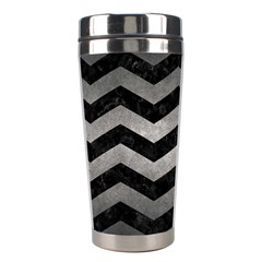 Chevron3 Black Marble & Gray Metal 1 Stainless Steel Travel Tumblers