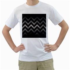 Chevron9 Black Marble & Gray Metal 1 Men s T Shirt (white) (two Sided)